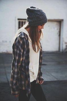 beanie, hoodie, oversized flannel. every day please. Loved and repinned by Hattie Reegan's www.etsy.com/shop/hattiereegans