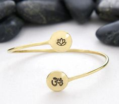 Lotus Flower and OM Cuff / Handmade / Sustainable / Bracelet / Lotus / Om / Ohm / Jewelry / Yoga / Gift / Statement / Idea / Recycleparty on Etsy, $18.00