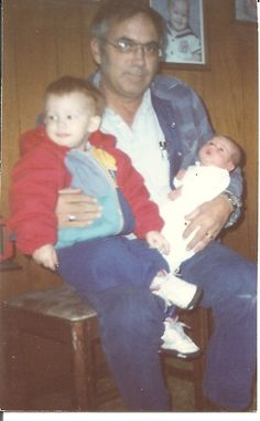 Grandpa Boyle with Andy and Dylan when he was just a newborn
