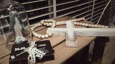 Kralenketting met houten  kruis
