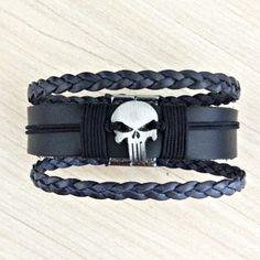 Pulseira Masculina Couro Legitimo Caveira Bracelete Skull mens bracelets fashion style cocar brasil