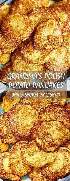 My grandma's Polish potato pancakes recipe - the best potato pancakes I've ever tasted. The recipe has a secret ingredient that makes them retain their beautiful color for a long time. Polish Potato Pancakes, Savory Pancakes, German Potato Pancakes, Recipe For Potato Pancakes, Buckwheat Pancakes, Ukrainian Recipes, Russian Recipes, Potato Cakes, Potato Dishes