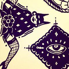 Sneak peek #tattoo #draw #artwork #eye #legs #black #tradicional #oldschool