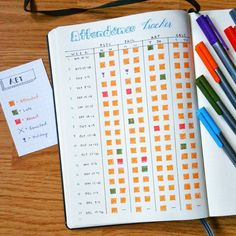 """""""School/studies #bulletjournal #planwithmechallenge this is the Attendance Tracker I made up in my Bullet Journal when I was in college during one of my…"""""""