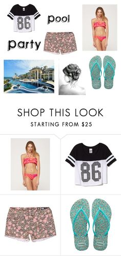"""""""Pool Party"""" by owlaquamarine ❤ liked on Polyvore featuring Roxy, Victoria's Secret PINK and Havaianas"""