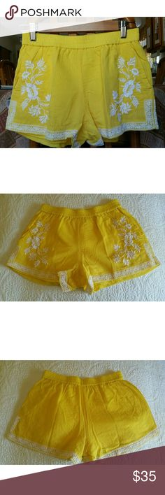 """""""JUST IN"""" Yellow Shorts NWOT  Lined Elastic waist  3 """" inseam  Sit one inch below the navel  Never worn  2 front pockets  NOTE : Will fit size 28 or Medium  7/17/2017 J. Crew Shorts"""