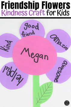 This kindness flower craft is perfect for kids to make for their friends by sharing kind words. This kindness craft is also a great friendship craft and kindness activity for kids . Best Friend Activities, Art Activities For Kids, Therapy Activities, Kindergarten Activities, Learning Activities, Preschool Activities, Preschooler Crafts, Fun Worksheets For Kids, Indoor Activities