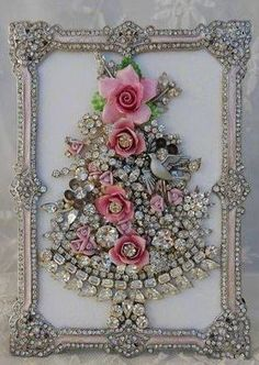 Vintage Jewelry Framed Christmas Tree ♥ pink roses, clear rhinestones, dove
