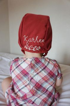 Dark red baby bonnet embroidered baby bonnet fall bonnet