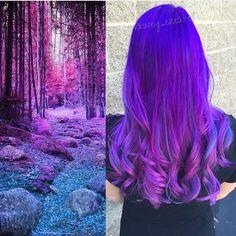 Purple to Violet hair color inspiration by Christina Dossola hotonbeauty.com