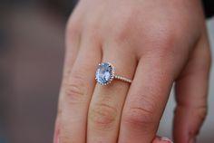 Anillo de compromiso oro rosa 2,5 ct azul gris diamante zafiro anillo 14 k rose gold oval zafiro