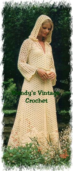 Instant Download PDF Vintage Crochet Pattern to make a Fairytale Cowl Hood Long Coat Beach Spring Wedding 4 Sizes 32 to 38 inch  bust