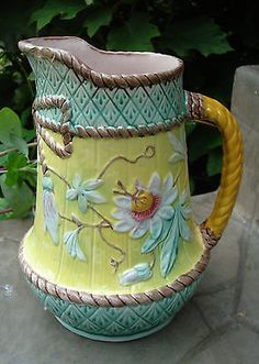 ANTIQUE ENGLISH PASSION VINE FLOWER PITCHER BOW & TASSEL TURQUOISE PINK RARE