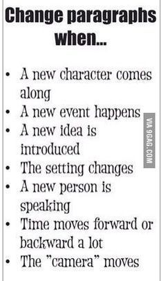Writing tips: When to change paragraphs. #writingtips