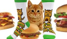 I want these socks =^_^= - Betabrand Cheezburger Socks 8 bit cat