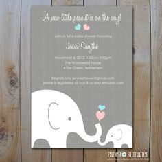Elephant Baby Shower Invitation / Little Peanut Elephant and Momma / Gender Neutral Design / Printable  Baby Shower Invitations / Item 10205. $15.00, via Etsy.