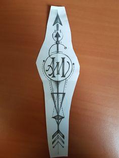 Dessin Flèche géométrique avec lettrage A et M ( Tattoo arrow geometric, lettering A and M ). Dessin réalisé chez Popink Tattoo Marseille France par Bastien. #tattoo #arrow #geometric #tatouage #fleche #geometrique