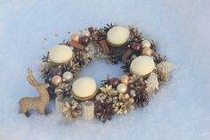 Advent wreath with candles - Pine cones -  Table wreath - Centerpiece - Holiday -  Christmas - Reindeer- Gold lvory