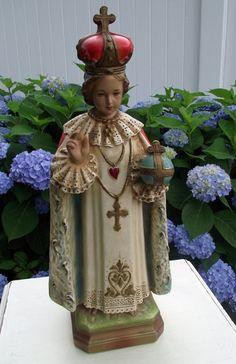 Vintage Ornate Catholic Infant of Prague Chalkware Statue Blessed
