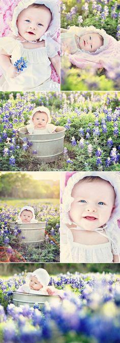 I like the idea of baby pics outside. So sweet...