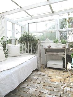 Cozy outdoor indoor sun room, green house