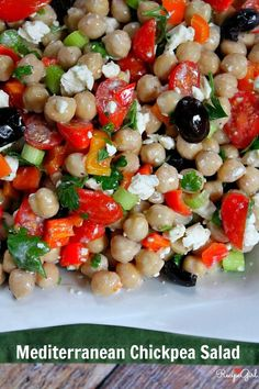Mediterranean Chickpea Salad -Love these ingredients - awesome salad! #recipe - RecipeGirl.com