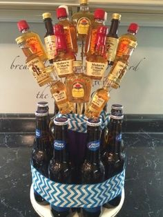 Super Ideas For Birthday Gifts Alcohol Man Bouquet Alcohol Gift Baskets, Liquor Gift Baskets, Raffle Baskets, Alcohol Gifts For Men, Fundraiser Baskets, 21st Birthday Gifts, Birthday Gift For Him, 21 Birthday, 21st Birthday Bouquet
