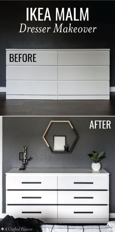 Home Decor Ikea Makeover a simple IKEA Malm dresser into a modern dresser perfect for your bedroom. This before and after is incredible and so easy! Ikea Lit Malm, Ikea Malm Bed, Ikea Malm Dresser, Ikea Hack Bedroom, Wood Dresser, Diy Bedroom, Girls Bedroom, Ikea Furniture Makeover, Ikea Makeover