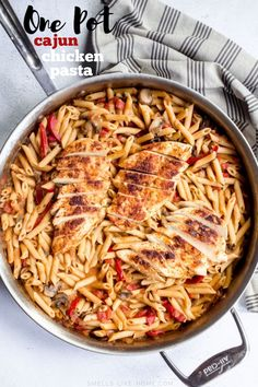 One Pot Cajun Chicken Pasta: A crazy delicious 30 minute one pot pasta recipe filled with spicy cajun chicken and a spicy tomato cream sauce. Louisiana Chicken Pasta, Cajun Chicken Pasta, Chicken Pasta Recipes, Easy Pasta Recipes, Noodle Recipes, Creamy Tomato Sauce, Tomato Cream Sauces, Creamy Pasta, Easy One Pot Meals