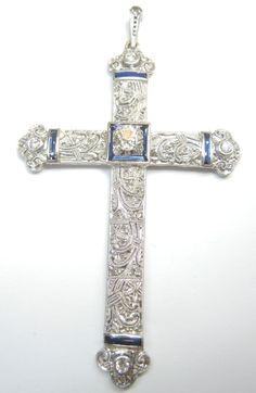 Antique Art Deco European Diamond Cross Faith Pendant Platinum Vintage - love the details Cross Jewelry, Art Deco Jewelry, Fine Jewelry, Cross Necklaces, Antique Jewelry, Vintage Jewelry, Antique Art, Rare Antique, Art Deco Diamond