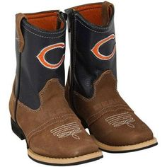 Chicago Bears Youth Pull-Up Cowboy Boots - Brown/Navy Blue | Da ...