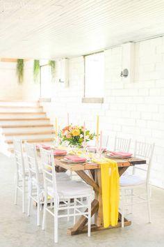 Citrus Inspired Wedding Color Palette | ElegantWedding.ca Table Setting Inspiration, Wedding Day Inspiration, Wedding Ideas, Wedding Table Centerpieces, Wedding Tables, Head Tables, Wedding Place Settings, Photographer Branding, Wedding Colors