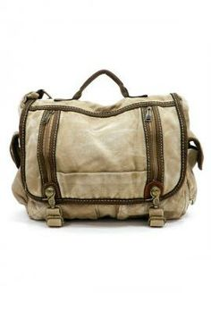 Hitchhiker Story Zipper Canvas Messenger Bag in Khaki | Sincerely Sweet Boutique