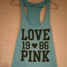 "Victoria Secret Tunic Victoria Secret ""Love Pink 1986"" Tunic  light blue color Victoria's Secret Tops Tunics"