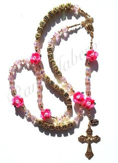 Pink Rose Flower Rosary - Can be Personalized!