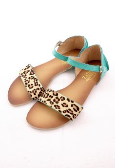 Leopard Strappy Falt Sandals in Turquoise