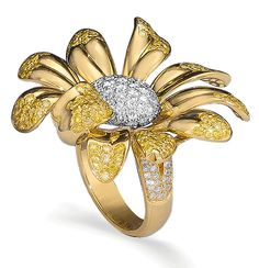 Cellini Jewelers ~ Yellow and White Diamond Flower Ring