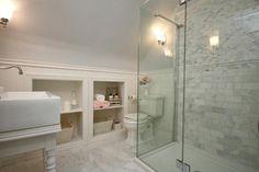 Bath  Custom vanity with over-sized farmhouse sink