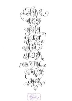 Calligraphy Alphabet - FLOURISHED - Hand Lettered - Print - super flourished with curls & swirls. $35.00, via Etsy.