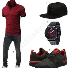 Herren-Style mit Poloshirt und Supra Sneakern Men's outfit with a dark red Glestore polo shirt, Whatever Cap, Detomaso chronograph, black Tazzio jeans and Supra sneakers. Timberland Outfits Men, Mode Man, Outfits Hombre, Herren Style, Mens Fashion Wear, Neue Outfits, Herren Outfit, Camisa Polo, Mode Style