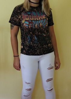 Hand bleached Journey Shirt and Vintage Pants. Band tee. Distressed band tee. Distressed tee. Bleached top. High waisted pants. 80s. 90s. Fashion. Women's fashion. Edgy. Grungy. Edgy girl. Grunge fashion. Rock and roll. Classic rock. Rocker style. Trendy girl. Vintage clothing. 90s grunge. 80s style. Shop it on depop!