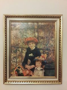 Two Sisters On the Terrace 1881 by Pierre-Auguste Renoir Wood Frame Gold Finish Hand Painted Reproduction
