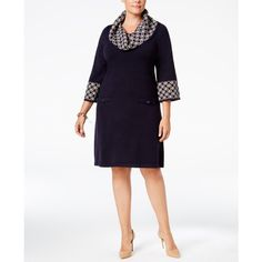 Jessica Howard Plus Size Geo-Contrast Sweater Dress ($60) ❤ liked on Polyvore featuring plus size women's fashion, plus size clothing, plus size dresses, navy taupe, navy dress, navy plus size dress, cowl neck sweater dress and womens plus dresses