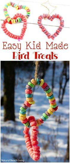 Kid Made Bird Feeder Ornaments - Heart Bird Feeder Crafts - selbstgemacht Winter Activities For Kids, Nature Activities, Winter Crafts For Kids, Crafts For Kids To Make, Gifts For Kids, Sensory Activities, Winter Kids, Winter Art, Spring Crafts