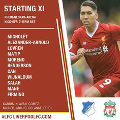 Liverpool's team that will start the game against Hoffenheim,  Good luck, Reds!  #LFC #YNWA #Liverpool #LiverpoolFC #WeAreLiverpool #LFCFamily #PremierLeague #LFCNews #Anfield #TheReds #PremeriLeague #UCL #ChampionsLeague #UCLPlayoff
