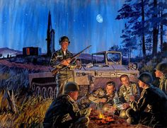 SCHAEFFER Mead, 1898-1980 (USA). Painting Title : U.S. Army Encampment, Martin-Lockhead Electronics & Missiles Corp advertisement.