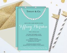 Blue Pearls Baby & Co. Elegant Baby Shower Printed Invitation with Envelopes (14 colors)