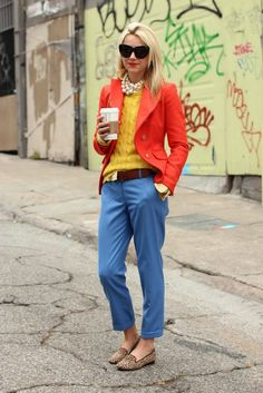 This is how I want to dress- bright colors, classic pieces! Casual but edgy! (Bright Bold Fashion by Lassley LaShay) Adrette Outfits, Preppy Outfits, Preppy Style, Style Me, Preppy Girl, Hipster Style, Tomboy Style, Work Outfits, Stylish Outfits