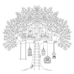 Adult Coloring Book: Secret Garden by Johanna Basford garden swing Coloring Isn't Just For Kids. It Can Actually Help Adults Combat Stress. Bird Coloring Pages, Printable Coloring Pages, Adult Coloring Pages, Coloring Books, Garden Coloring Pages, Colouring Sheets, Secret Garden Coloring Book, Johanna Basford Secret Garden, Colorful Garden