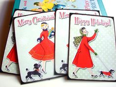 Christmas Postcard Set  Vintage Women In Red Coats by MimiAndLucy